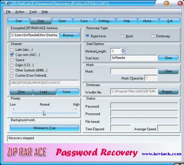 ZIP RAR ACE Password Recovery Keygen Full Version